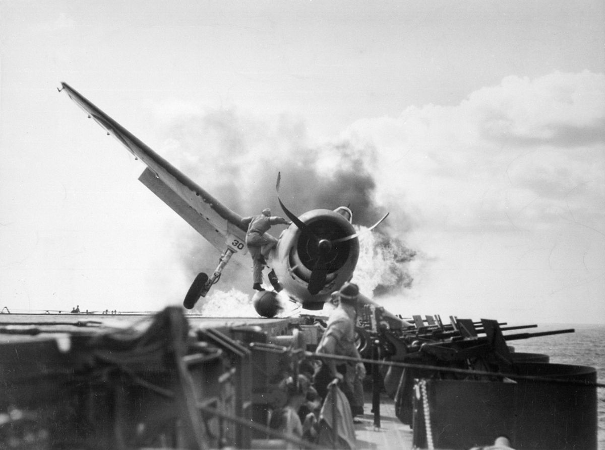 1943 crash landing on the USS Enterprise. PD photo by the US Department of Defense.