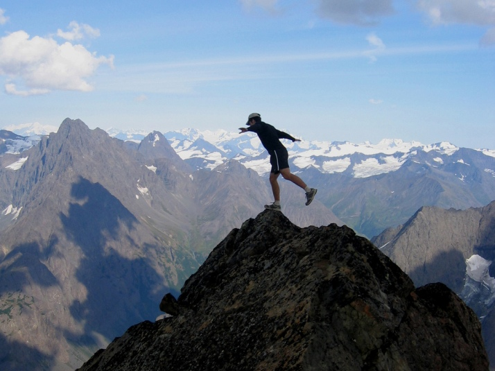 """Balancing on the Brink."" Eagle Peak Summit, Chugach Mountains, Alaska. CC2.0 photo by Paxson Woelber."